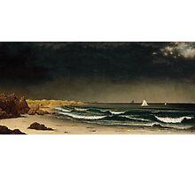 Martin Johnson Heade - Approaching Storm Beach Near Newport 1861. Sea landscape: sea view,  Storm, thunderstorm, sailing boat, severe, waves and beach, rain, seascape, sun clouds Photographic Print