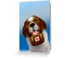 You have fallen, but it is okay, the dog is here to help Greeting Card