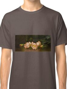 Martin Johnson Heade - Lotus Flowers A Landscape Painting In The Background. Still life with flowers: still life with flowers, flowers, hummingbird, nest, orchid,  lotus blossom, wonderful flower Classic T-Shirt