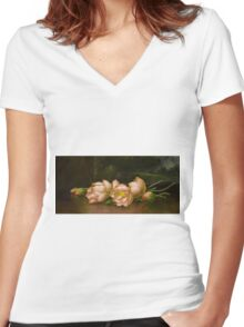 Martin Johnson Heade - Lotus Flowers A Landscape Painting In The Background. Still life with flowers: still life with flowers, flowers, hummingbird, nest, orchid,  lotus blossom, wonderful flower Women's Fitted V-Neck T-Shirt