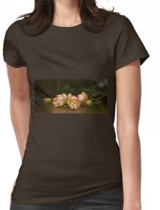 Martin Johnson Heade - Lotus Flowers A Landscape Painting In The Background. Still life with flowers: still life with flowers, flowers, hummingbird, nest, orchid,  lotus blossom, wonderful flower Womens Fitted T-Shirt