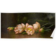 Martin Johnson Heade - Lotus Flowers A Landscape Painting In The Background. Still life with flowers: still life with flowers, flowers, hummingbird, nest, orchid,  lotus blossom, wonderful flower Poster