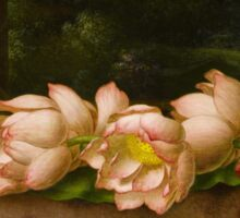 Martin Johnson Heade - Lotus Flowers A Landscape Painting In The Background. Still life with flowers: still life with flowers, flowers, hummingbird, nest, orchid,  lotus blossom, wonderful flower Sticker