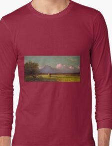 Martin Johnson Heade - Sunlight And Shadow The Newbury Marshesc 1871. Field landscape: field landscape, nature, village, garden, flowers, trees, sun, rustic, countryside, sky and clouds, summer Long Sleeve T-Shirt