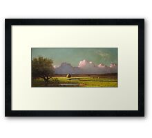 Martin Johnson Heade - Sunlight And Shadow The Newbury Marshesc 1871. Field landscape: field landscape, nature, village, garden, flowers, trees, sun, rustic, countryside, sky and clouds, summer Framed Print