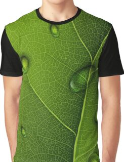 Drops On Green Leaf  Graphic T-Shirt