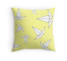Origami Peace Cranes - Yellow Throw Pillow