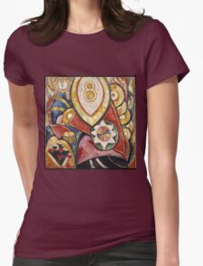 Marsden Hartley - Painting No. 48. Abstract painting: abstract art, geometric, expressionism, composition, lines, forms, creative fusion, spot, shape, illusion, fantasy future Womens Fitted T-Shirt