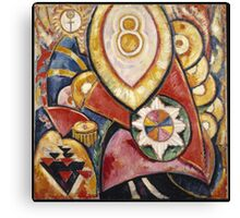 Marsden Hartley - Painting No. 48. Abstract painting: abstract art, geometric, expressionism, composition, lines, forms, creative fusion, spot, shape, illusion, fantasy future Canvas Print