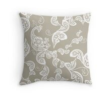 Elegant Bohemian Boho White Floral Paisley Peacock Throw Pillow