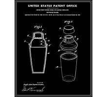 Cocktail Shaker Patent - Black Photographic Print