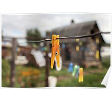 yellow Clothespin Poster
