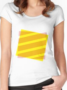 Yellow and pink abstract Women's Fitted Scoop T-Shirt