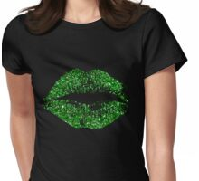 Stylish Green Glitter Lips Womens Fitted T-Shirt