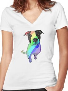 Rainbow Pibble Women's Fitted V-Neck T-Shirt