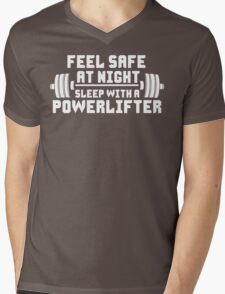 Feel Safe At Night. Sleep With A Powerlifter. Mens V-Neck T-Shirt