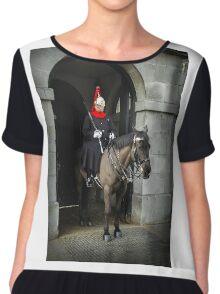 Horse guard on duty at Buckingham Palace Chiffon Top