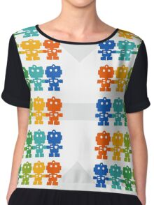 Rainbow Robots holding hands Chiffon Top