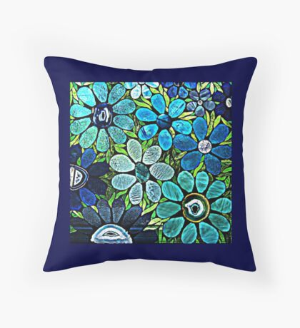 Artistic Garden of Blues & Greens Throw Pillow