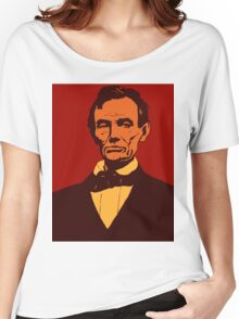 Abraham Lincoln vector pop art red Women's Relaxed Fit T-Shirt