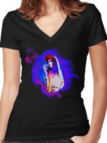 Adore Blue Women's Fitted V-Neck T-Shirt