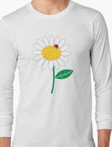 Whimsical Summer White Daisy and Red Ladybug Long Sleeve T-Shirt