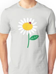 Whimsical Summer White Daisy and Red Ladybug Unisex T-Shirt