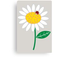 Whimsical Summer White Daisy and Red Ladybug Canvas Print
