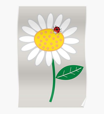 Whimsical Summer White Daisy and Red Ladybug Poster