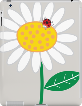 Whimsical Summer White Daisy and Red Ladybug by fatfatin