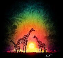 Giraffes at sunset by Nicolas MAUREL Art