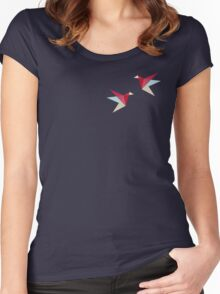 Paper Cranes Pattern Women's Fitted Scoop T-Shirt