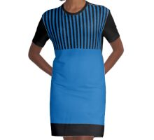 Trendy Dazzling Blue Black Stripes Graphic T-Shirt Dress
