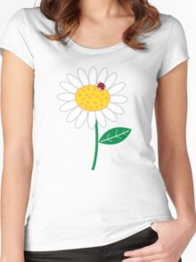 Whimsical Summer White Daisies & Red Ladybugs Women's Fitted Scoop T-Shirt