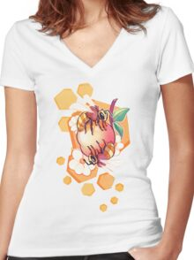 Bees & Apricot Women's Fitted V-Neck T-Shirt