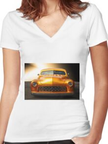1950 Mercury Custom Coupe 'Grill Detail' Women's Fitted V-Neck T-Shirt