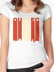 Vintage Quebec Cityscape Women's Fitted Scoop T-Shirt