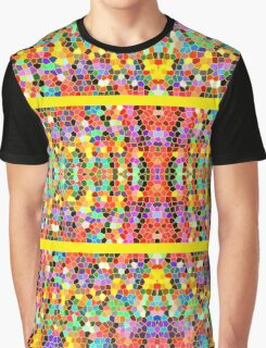 Abstract Stained Glass Colorful Rainbow Vivid Mosaic Graphic T-Shirt