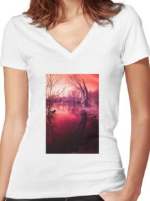 Spooky lake, mysterious light Women's Fitted V-Neck T-Shirt