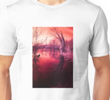 Spooky lake, mysterious light Unisex T-Shirt