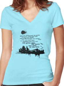 """Way Down In The Hole"" - The Wire - Dark Women's Fitted V-Neck T-Shirt"