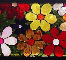 Multicolored Garden of Flowers, Mosaic by WonderMeMosaics
