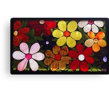 Multicolored Garden of Flowers, Mosaic Canvas Print