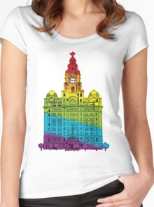 Rainbow Liver Building Liverpool Women's Fitted Scoop T-Shirt
