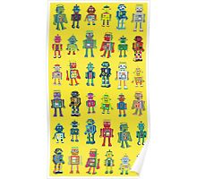 Robot Line-up on Yellow Poster