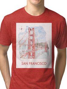 San Francisco Golden Gate Neighborhood Map Tri-blend T-Shirt