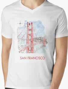San Francisco Golden Gate Neighborhood Map Mens V-Neck T-Shirt