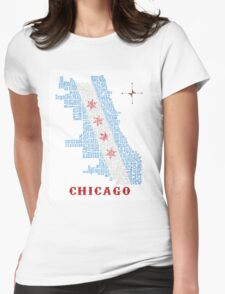 Chicago Flag Neighborhood Map Womens Fitted T-Shirt