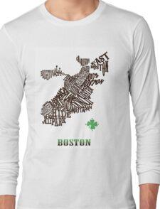 Boston Clover Neighborhoods Map Long Sleeve T-Shirt