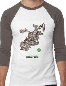Boston Clover Neighborhoods Map Men's Baseball ¾ T-Shirt